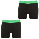 Lonsdale 2 Pack Boxers Mens Black/Green