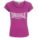Lonsdale 2 Stripe Crew T Shirt Ladies Purple