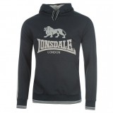Lonsdale 2 Stripe Hoody Mens Navy/Grey