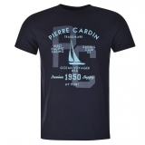 Pierre Cardin Printed T Shirt Mens Navy