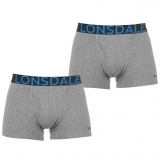 Lonsdale 2Pk Trunk Mens Grey/Blue