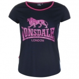 Lonsdale 2 Stripe LL T Shirts Ladies Navy