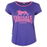 Lonsdale 2 Stripe LL T Shirts Ladies Purple