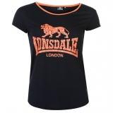 Lonsdale 2 Stripe LL T Shirts Ladies Navy/Coral
