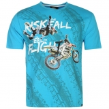 No Fear Moto Graphic T Shirt Mens Blue