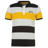 Everlast Stripe Polo Mens Black KAZ