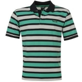 Lonsdale 3 Stripe Polo Shirt Mens Navy/Aqua/White