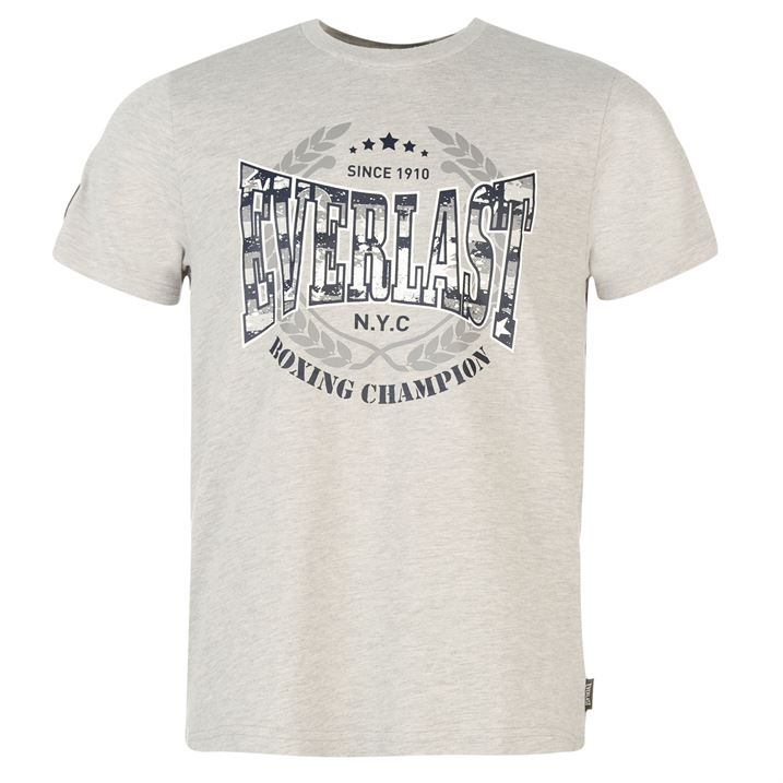 Everlast Printed T Shirt Mens Grey