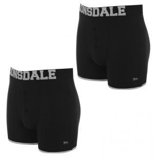 Lonsdale 2 Pack Boxers Mens Black/Silver