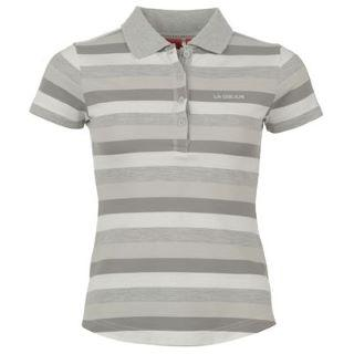 LA Gear YD Polo Shirt Ladies Grey/White
