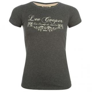 Lee Cooper T Shirt Pink Charcoal