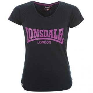 Lonsdale 2 Stripe Crew T Shirt Ladies Navy