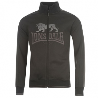 Lonsdale 2 Stripe Zip Top Mens Black
