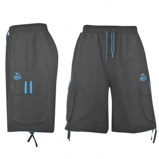 Lonsdale 2S Mens Cargo Shorts Black/Blue