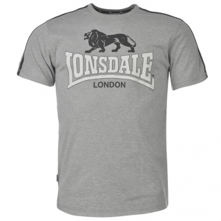 Lonsdale 2 Stripe T Shirt Mens Grey/Navy