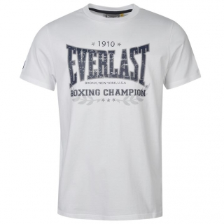 Everlast Heritage T Shirt Mens White/Navy