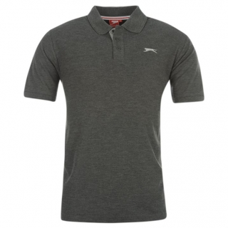 Slazenger Plain Polo Shirt Mens Charc