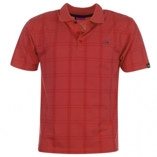 Dunlop Check Golf Polo Shirt Mens Red