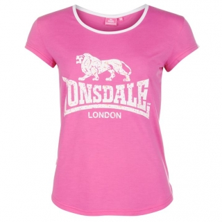 Lonsdale 2 Stripe LL T Shirts Ladies Pink