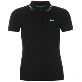 Lonsdale Lion Polo Shirt Ladies Black