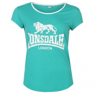 Lonsdale 2 Stripe LL T Shirts Ladies Teal