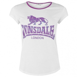 Lonsdale 2 Stripe LL T Shirts Ladies White