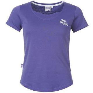 Lonsdale 2 Stripe V Neck T Shirt Ladies Purple