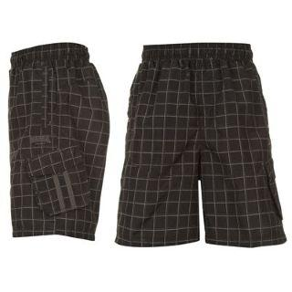 Lonsdale Check Shorts Mens Black/Charc