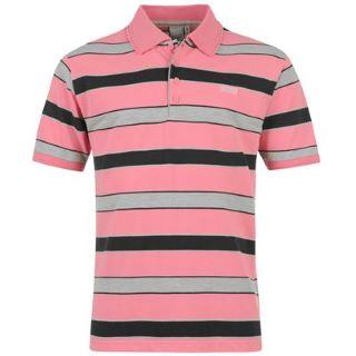 Lonsdale Stripe Polo Shirt Mens Pink/Grey